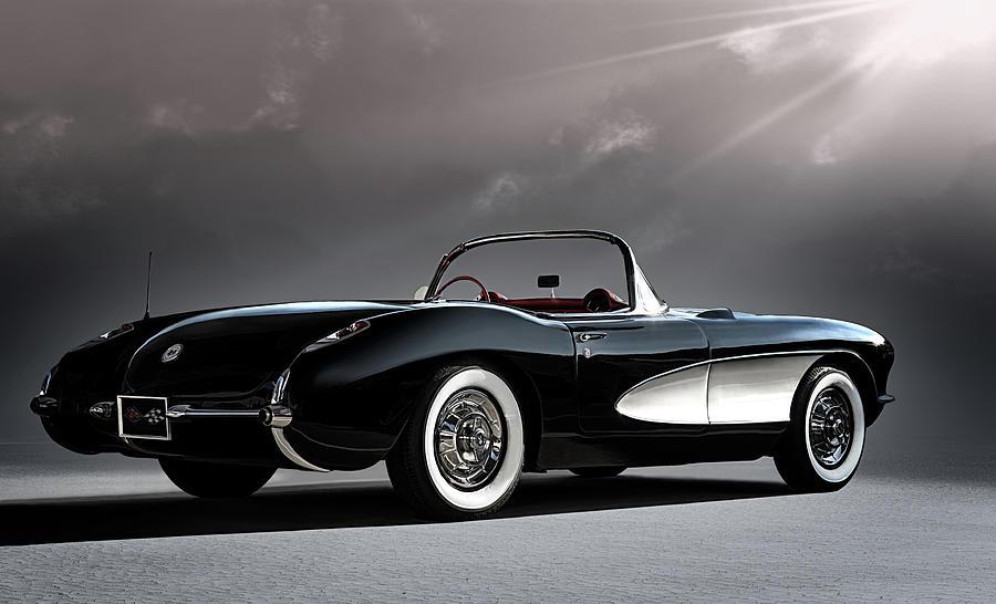 Classic Digital Art - 56 Corvette Convertible by Douglas Pittman