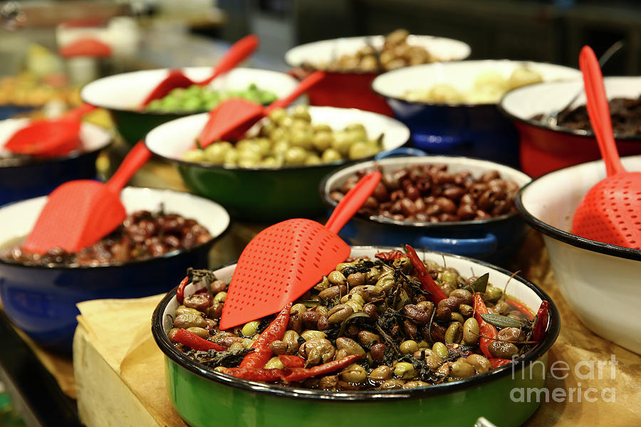 Food Photograph - A Bowl Of Black Olives  by Oren Shalev