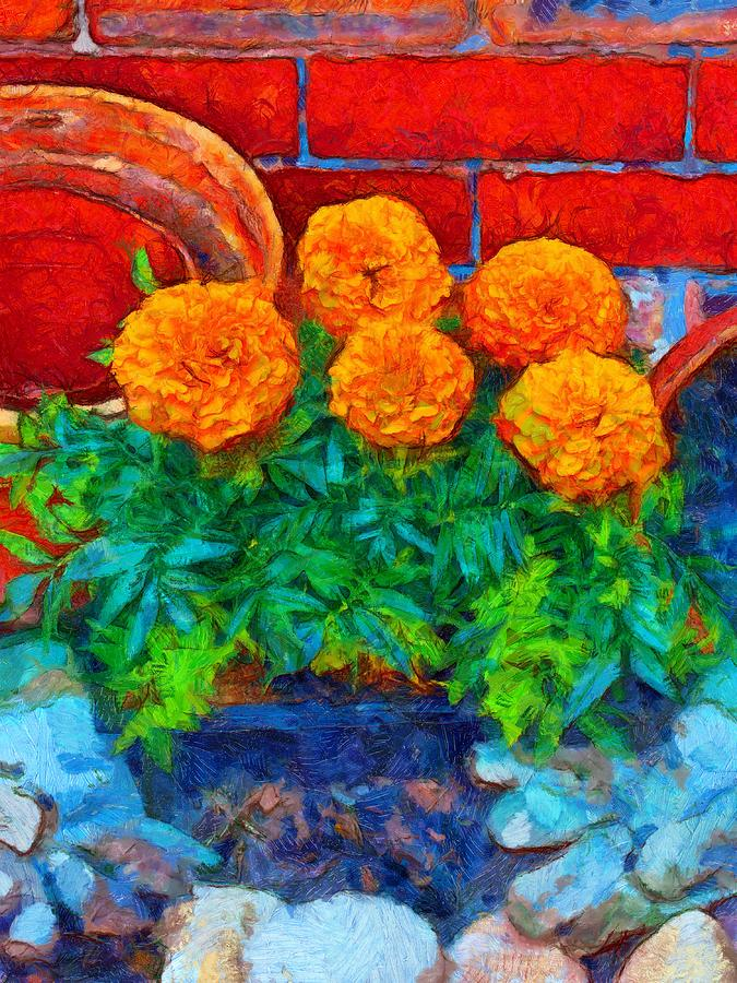 A Digitally Constructed Painting Of Potting Plants In Van Gogh