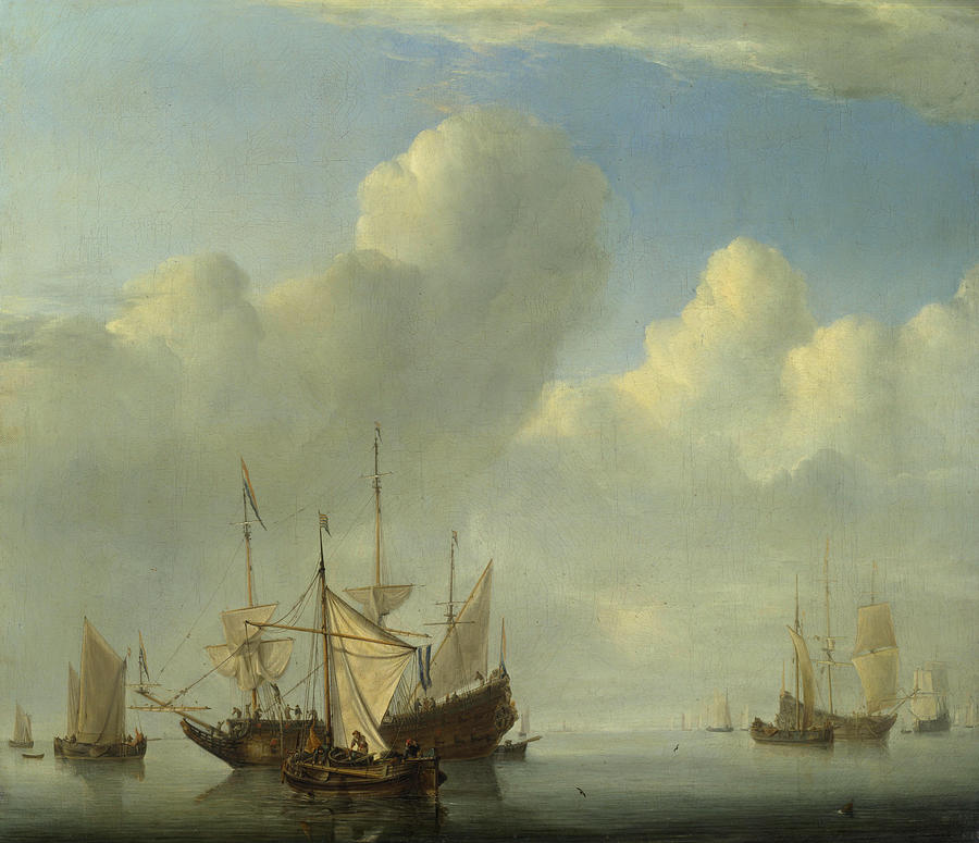 Fishing Painting - A Dutch Ship Coming To Anchor by Willem van de Velde