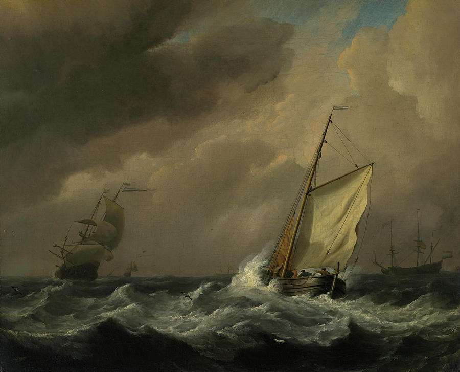 Coastlines Painting - A Small Dutch Vessel Close-hauled In A Strong Breeze by Willem van de Velde