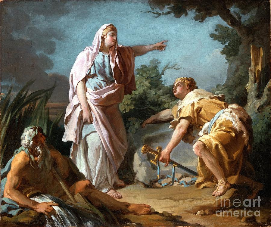 Aethra Showing Her Son Theseus The Place Where His Father Had Hidden His Arms Painting
