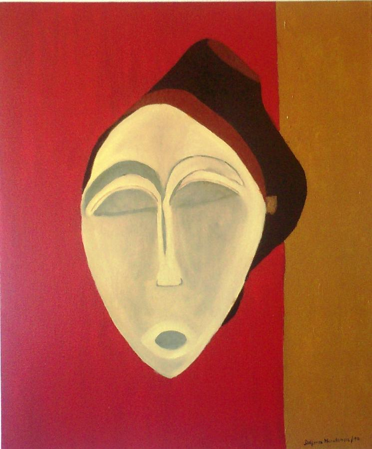 Masks Painting - African Mask by Delfina Mendonca