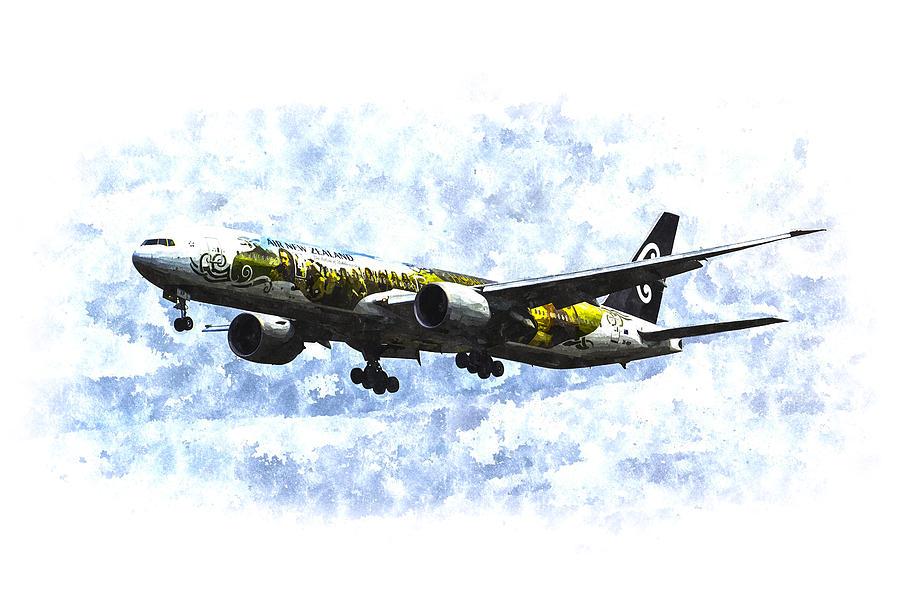 The Hobbit Painting - Air New Zealand Hobbit Boeing 777 Art by David Pyatt