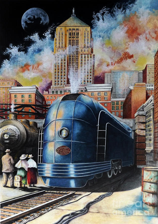 Zephyr Train Drawing - All Aboard by David Neace