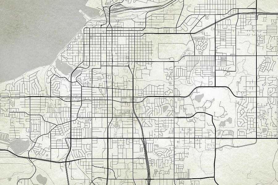 Anchorage Alaska Usa Dark Map Digital Art by Jurq Studio