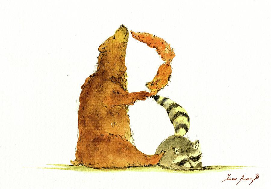 Woodland Alphabet Painting - Animal Letter 2 by Juan Bosco