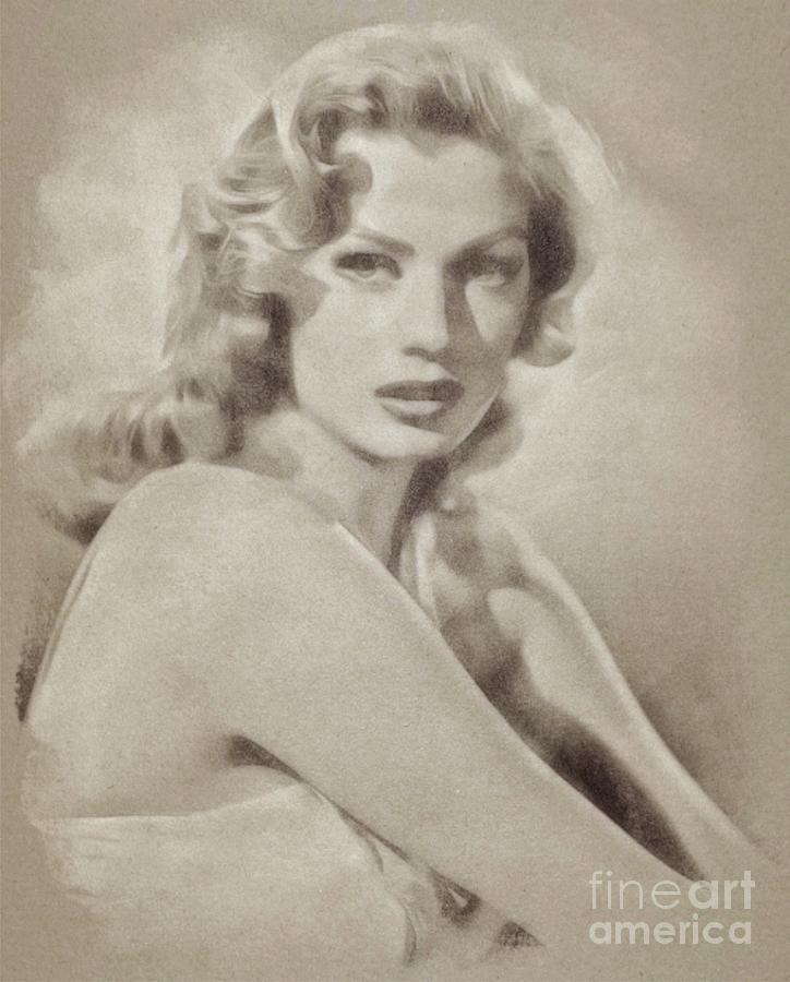 Anita Ekberg, Vintage Hollywood Actress Drawing
