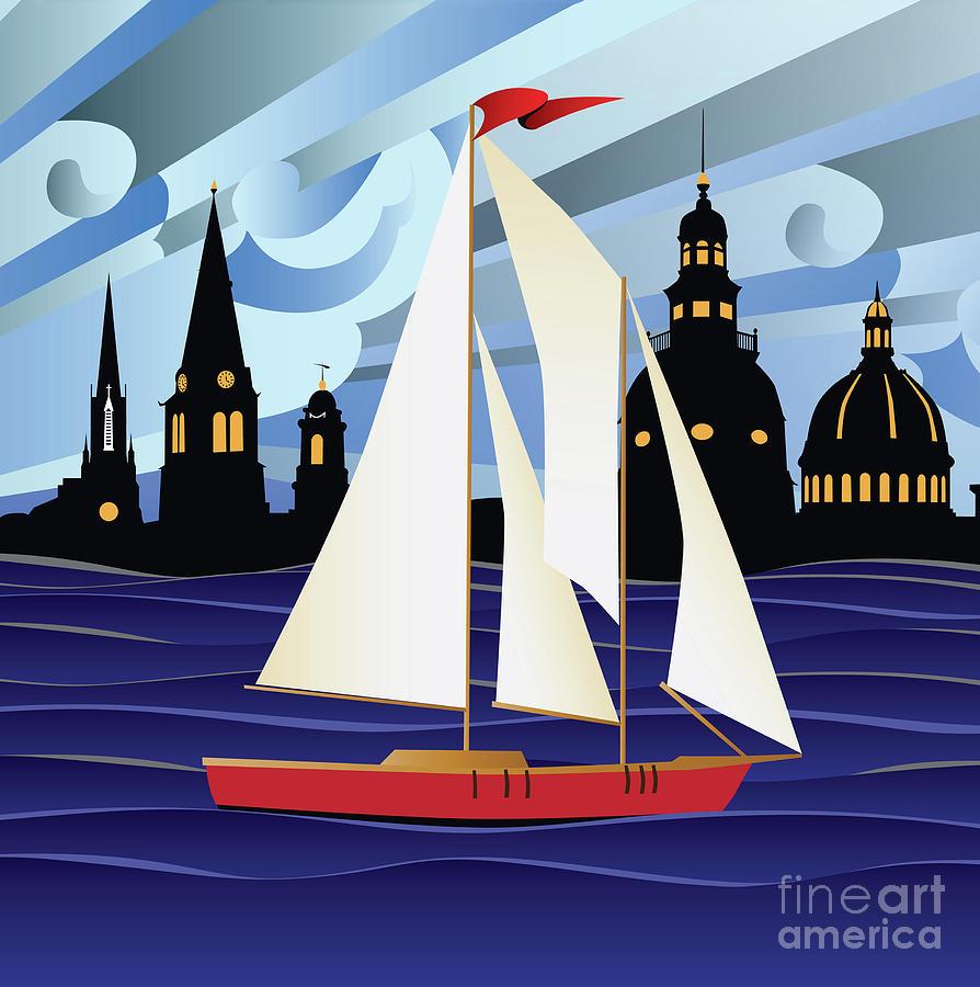Annapolis Digital Art - Annapolis Skyline Red Sail Boat by Joe Barsin