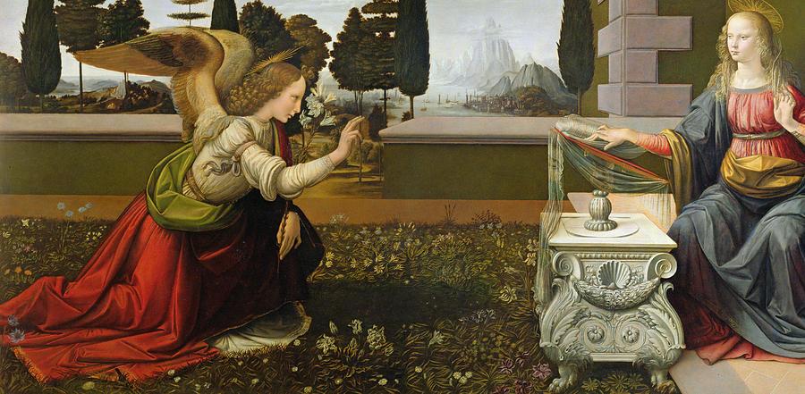 Annunciation Painting by Leonardo Da Vinci