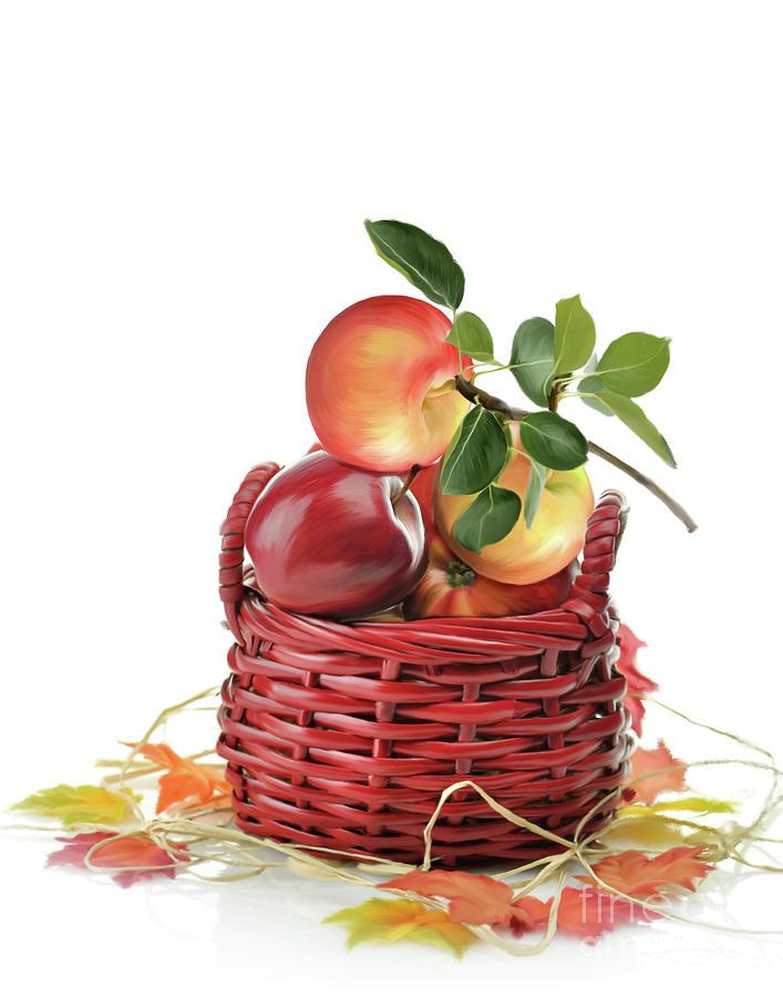 Apple Digital Art - Apples In A Basket  by Svetlana Foote
