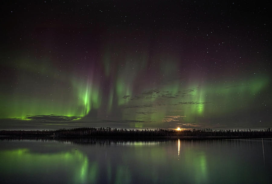 Aurora at the Lake by Ronald Lafleur