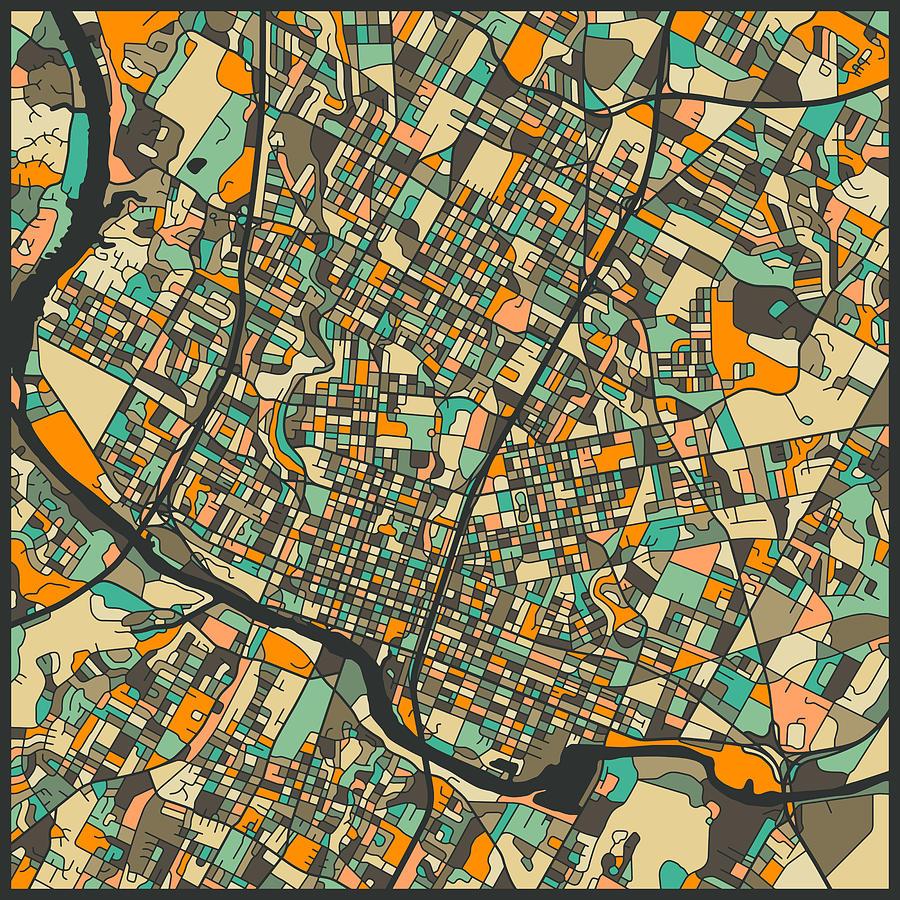 Austin Map Digital Art by Jazzberry Blue