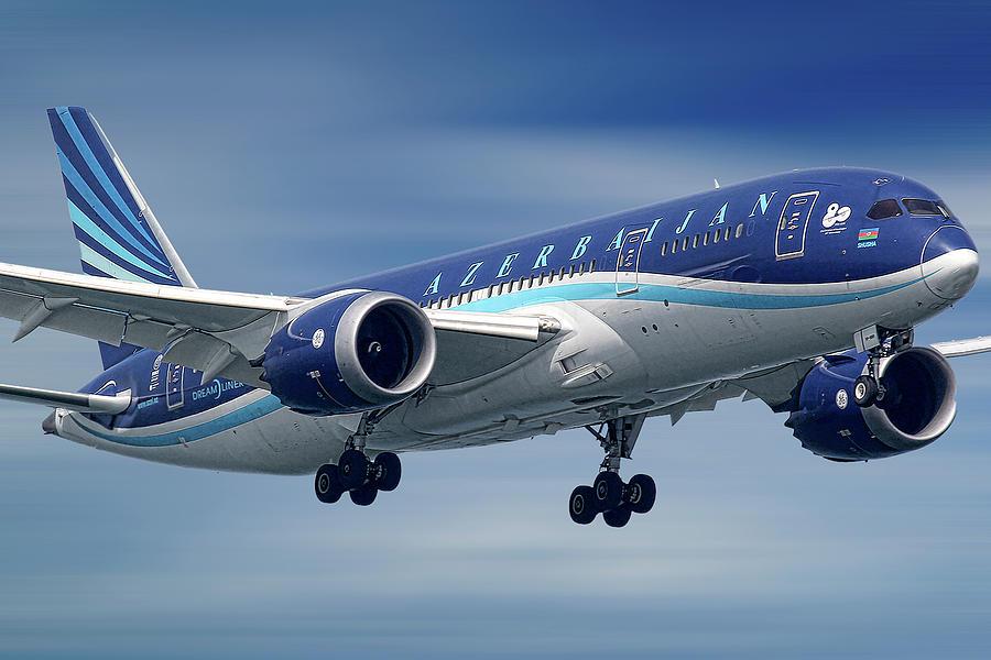 Azerbaijan Mixed Media - Azerbaijan Airlines Boeing 787 Dreamliner by Smart Aviation