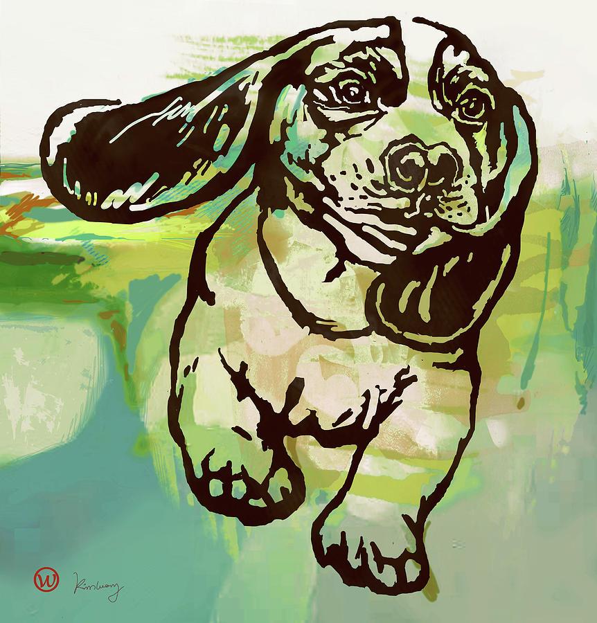 Portraits Mixed Media -  Baby Dog -  Pop Art Poster by Kim Wang