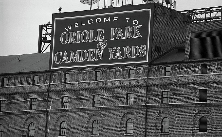America Photograph - Baltimore Orioles Park At Camden Yards Bw by Frank Romeo