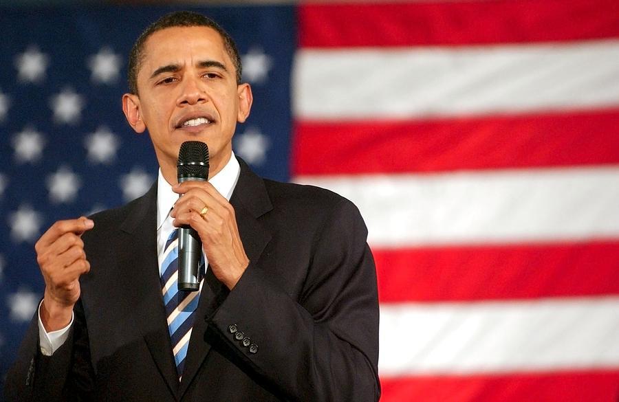 Barack Obama Presidential Campaign Rally Photograph - Barack Obama On Stage For Barack Obama by Everett