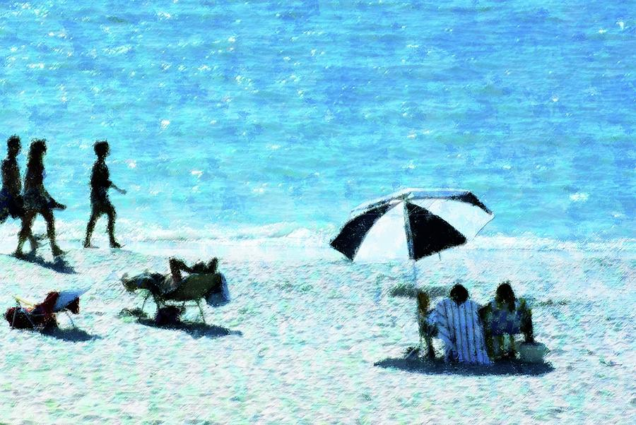 Beach Mixed Media - Beach Walk by Florene Welebny