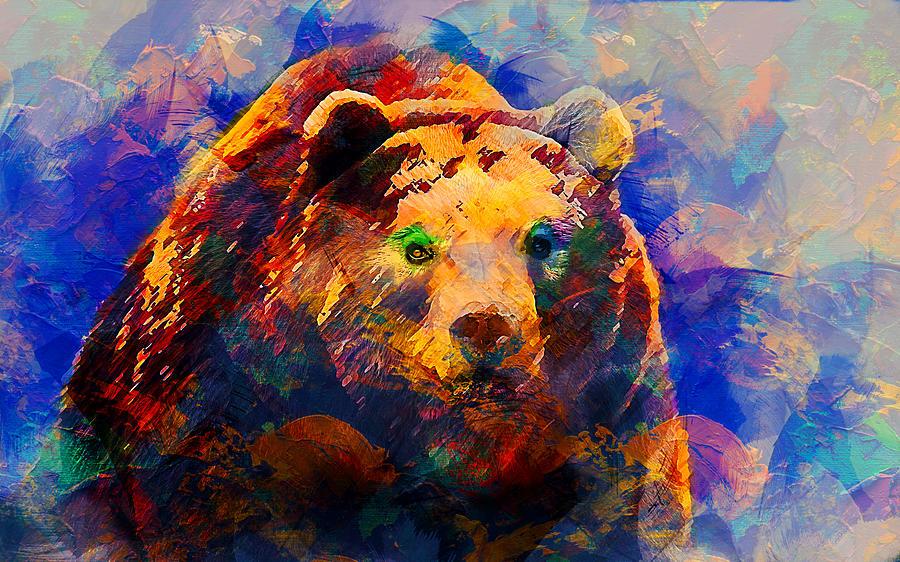 Bear Digital Art - Bear by Elena Kosvincheva