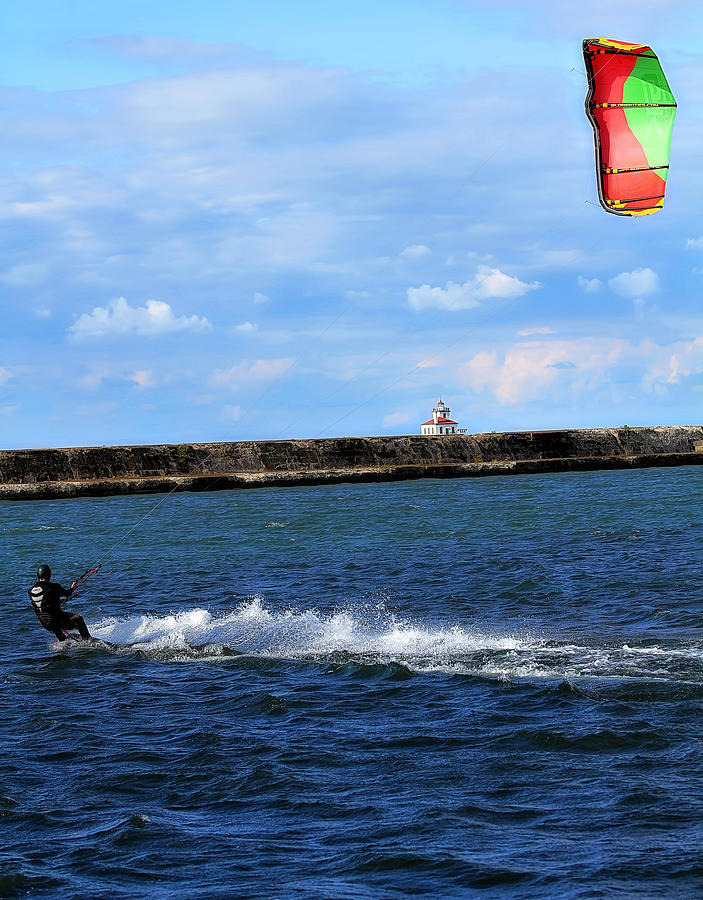 Beautiful Kite Boarding Skiing Water Lake Wave Splash Splashes Lighthouse Clouds Sky Sports Action Colorful Photograph - Beautiful Day by Celestial  Blue
