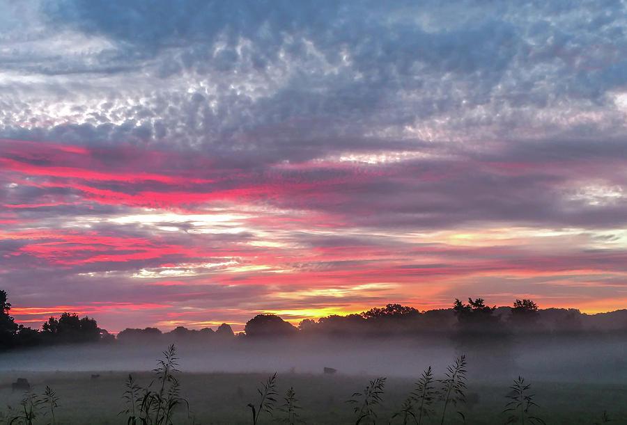 Beautiful Sunrise Over Farmland In South Carolina Photograph