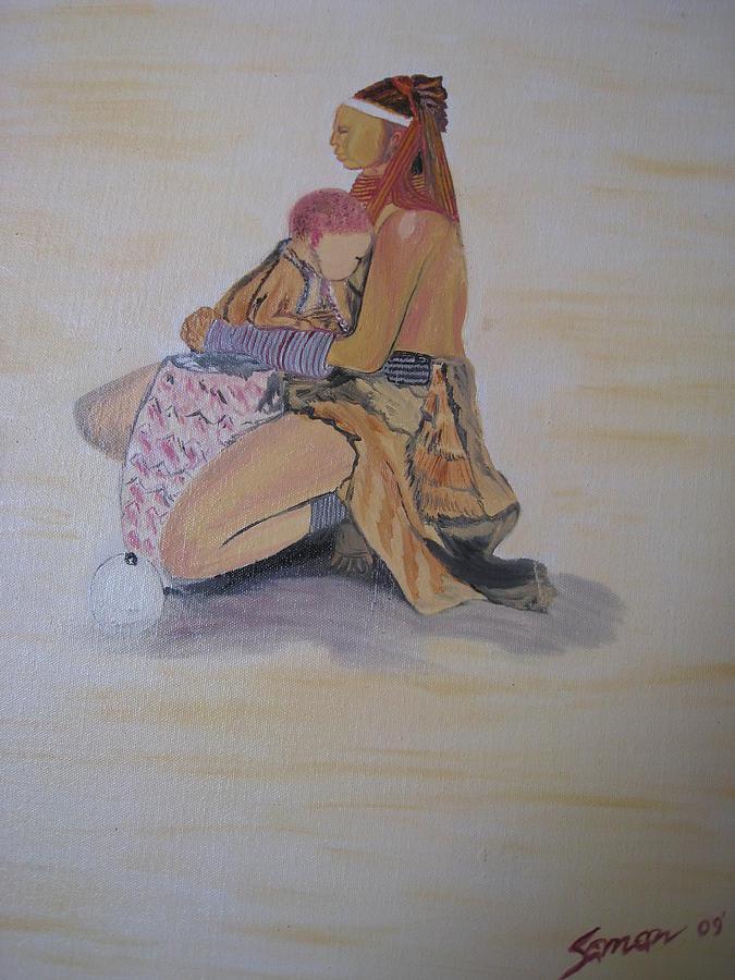 Portrait Painting - Beauty Of Motherhood by Saman Khan