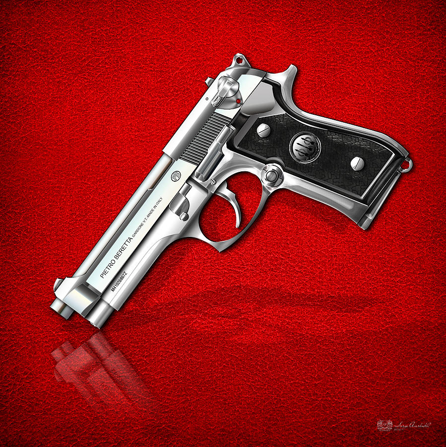 Beretta 92fs Inox Photograph - Beretta 92FS Inox over Red Leather  by Serge Averbukh