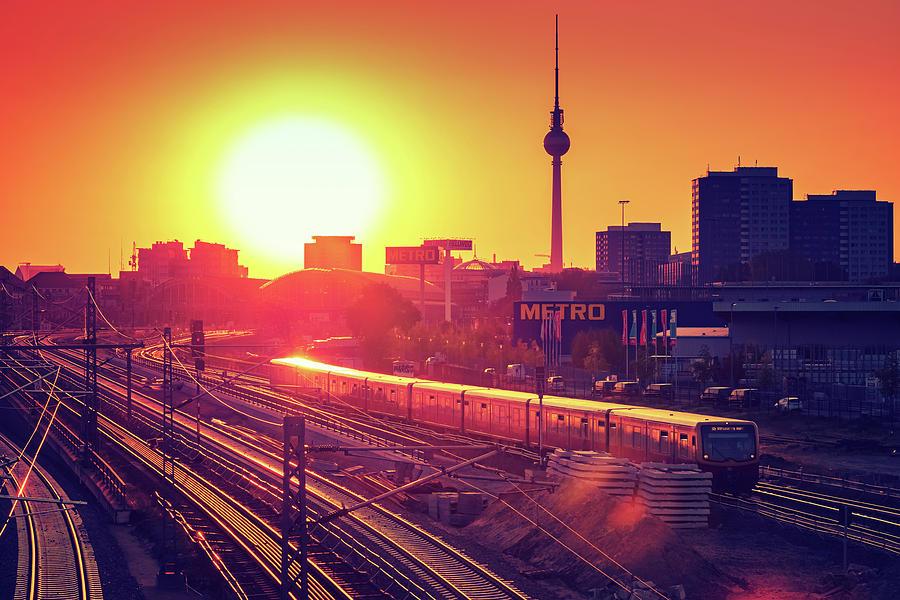 Berlin Photograph - Berlin - Sunset Skyline by Alexander Voss