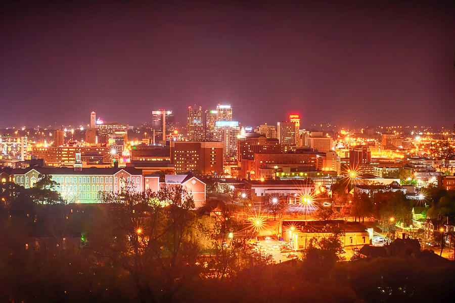 Birmingham Photograph - Birmingham Alabama Evening Skyline by Alex Grichenko