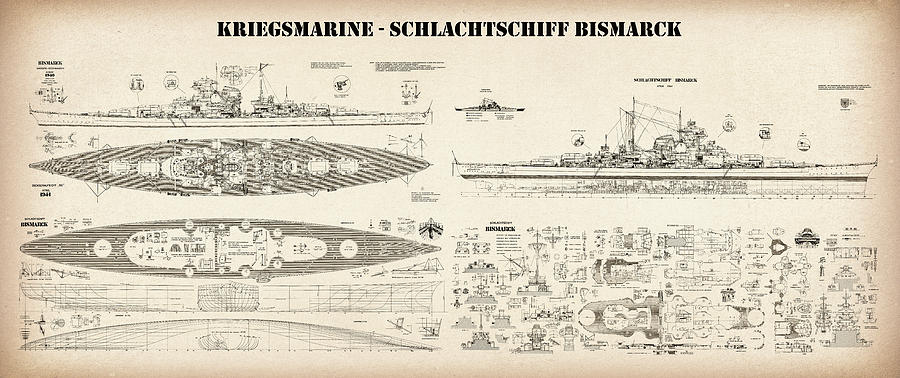 Bismarck ship plans of the iconic world war ii battleship of the bismarck digital art bismarck ship plans of the iconic world war ii battleship of malvernweather Choice Image