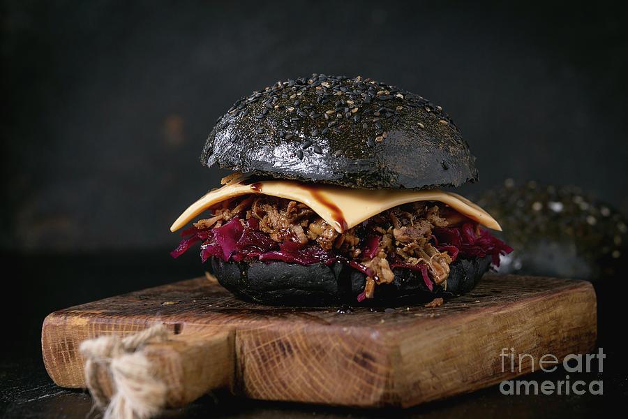 Cabbage Pyrography - Black Burger With Stews by Natasha Breen
