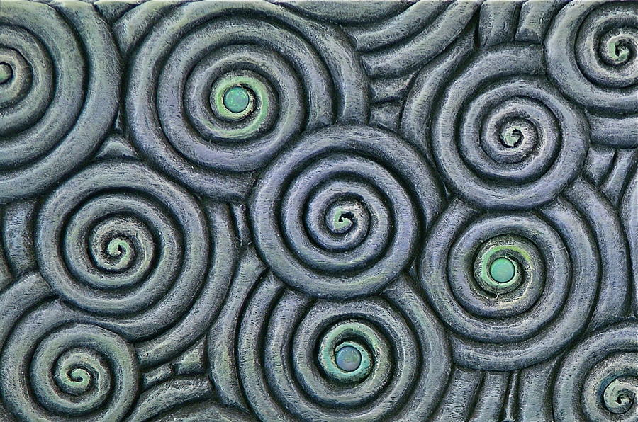 Texture Sculpture - Bleus En Spirale by Jacques Vesery