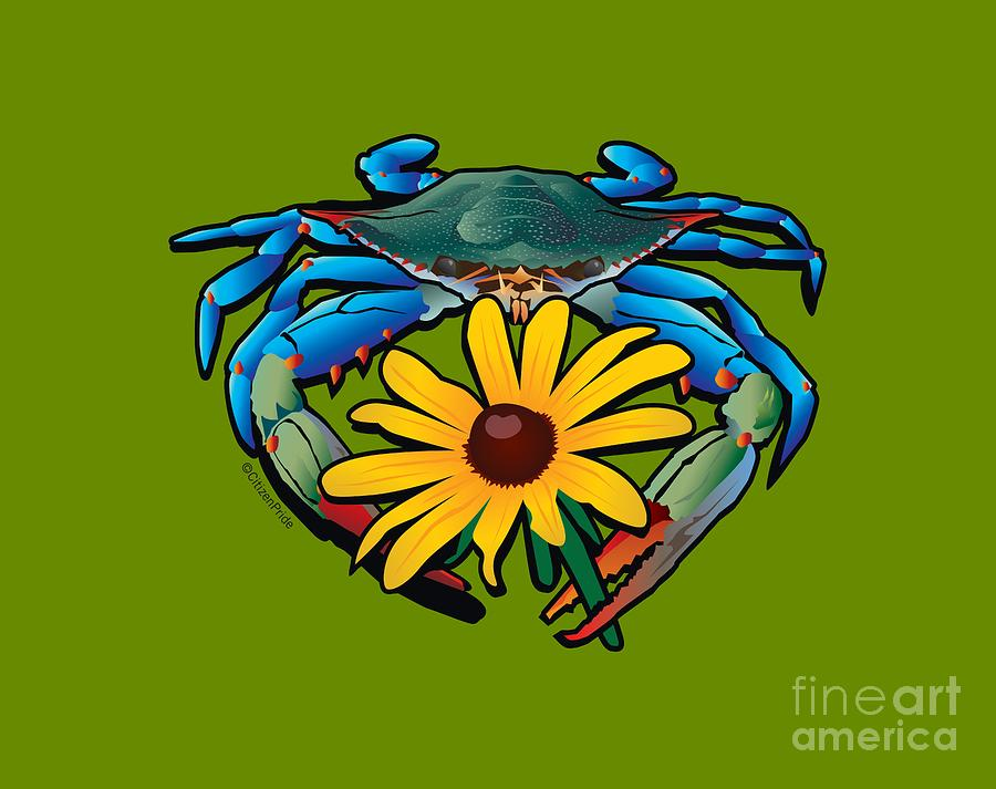 Maryland Crab Digital Art - Blue Crab Maryland Black-Eyed Susan by Joe Barsin