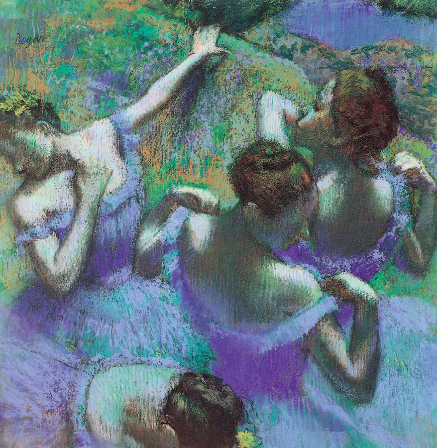 Blue Dancers Pastel - Blue Dancers by Edgar Degas