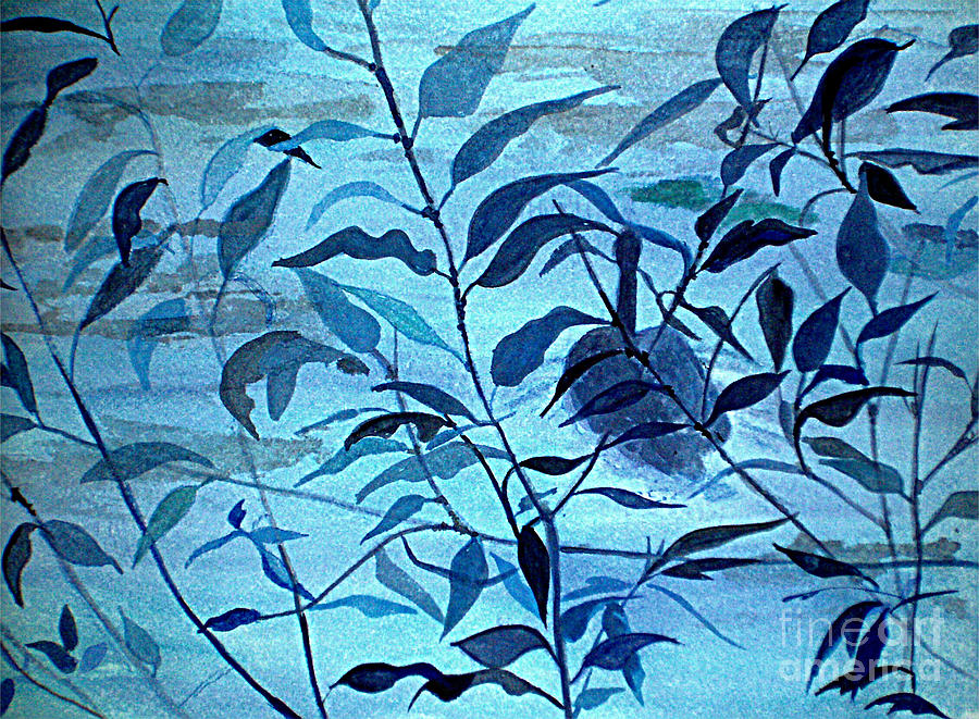 Blue Painting - Blue On Blue by Vivian  Mosley