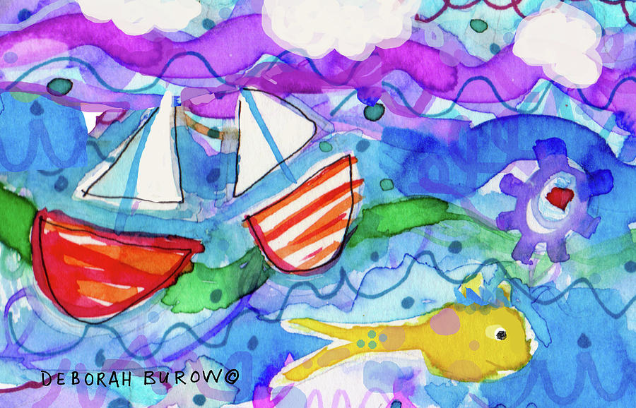 Summer Painting - 2 Boats And Yellow Fish by Deborah Burow