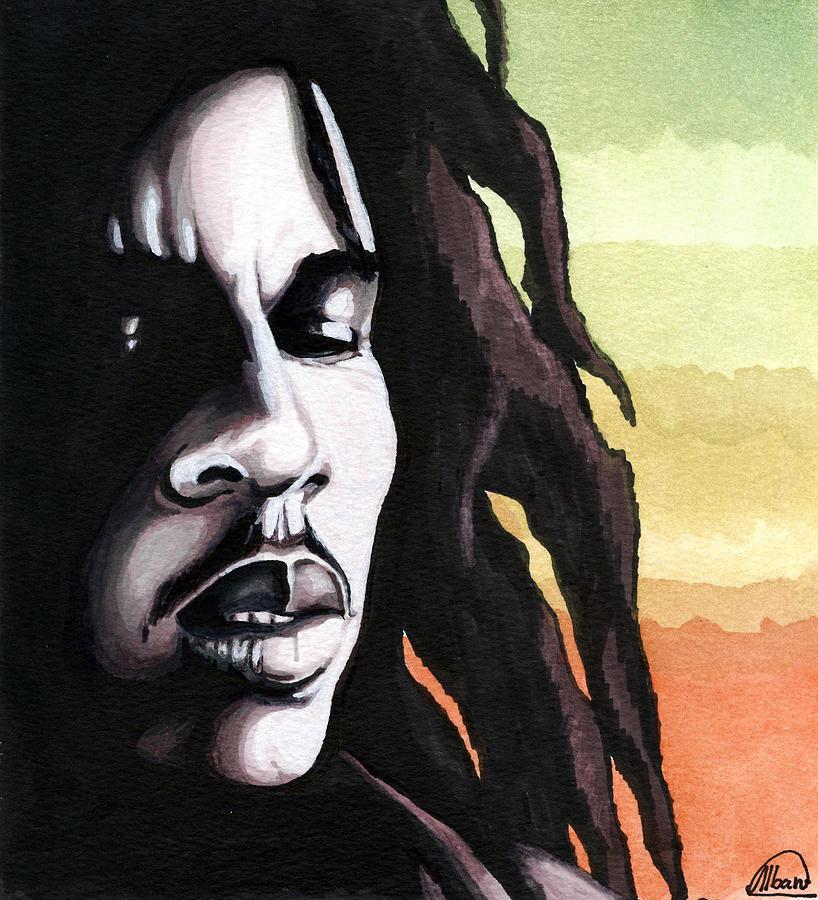 Stars Painting - Bob Marley Portrait by Alban Dizdari