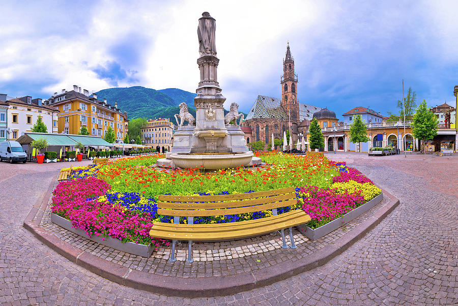 Bolzano Photograph - Bolzano Main Square Waltherplatz Panoramic View by Brch Photography