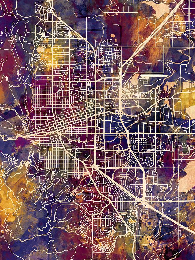 Boulder Colorado City Map Digital Art By Michael Tompsett