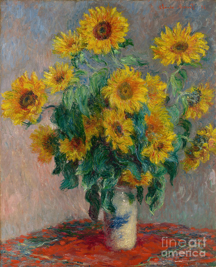 Monet Painting - Bouquet of Sunflowers by Claude Monet