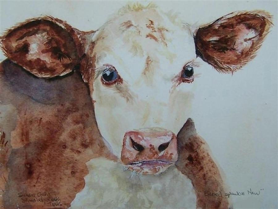 Baby Calf Painting - Brand Spankin New by Susan Gahr