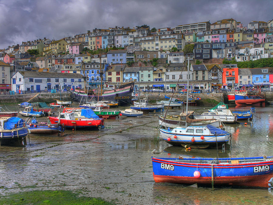 Blue Photograph - Brixham Harbour by Mike Lester