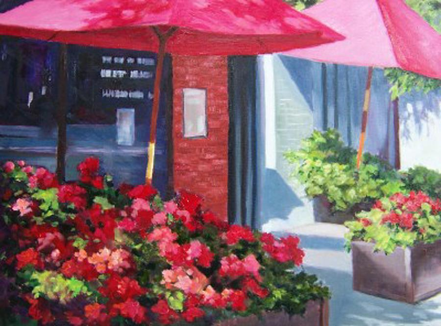 Cafe Painting - Cafe In Red by Maralyn Miller