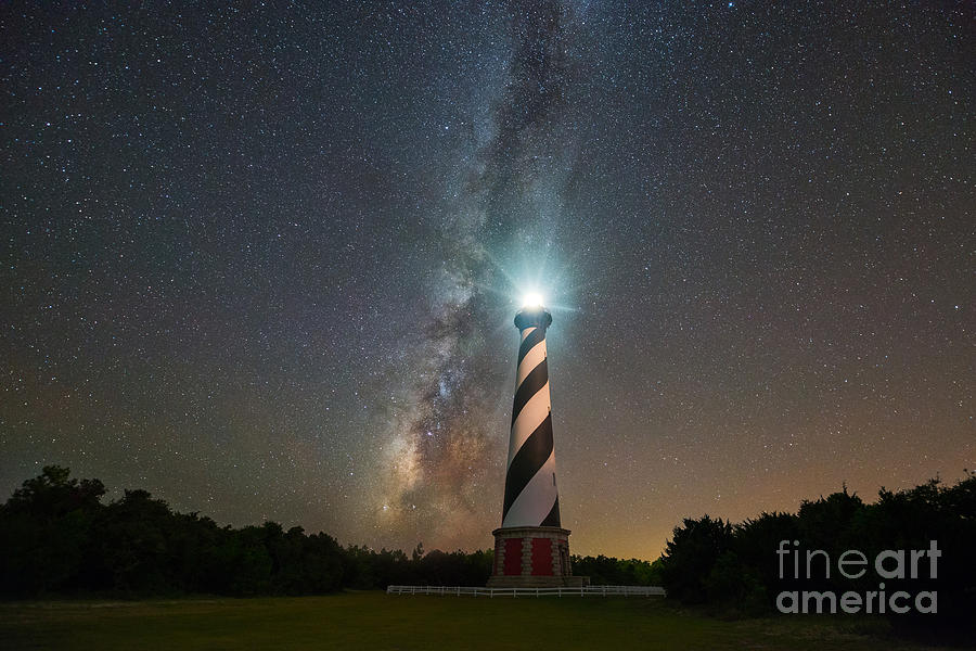 Cape Hatteras Lighthouse Photograph - Cape Hatteras Lighthouse Milky Way by Michael Ver Sprill