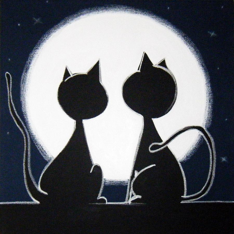 2 Cats Looking At The Moon Painting By Mara Morea