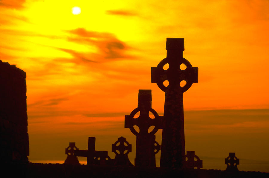 Cemetery Photograph - Celtic Crosses In Sunset by Carl Purcell