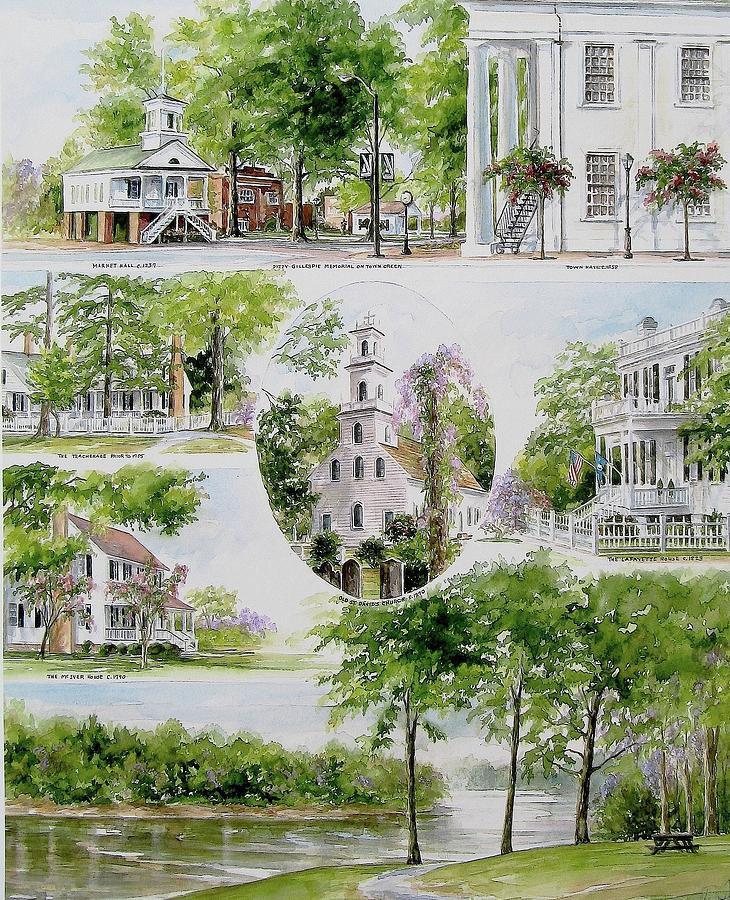 Landscapes Painting - Cheraw Collage by Gloria Turner