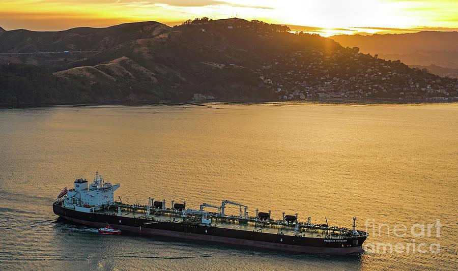 Chevron Photograph - Chevron Pegasus Voyager Oil Tanker by David Oppenheimer