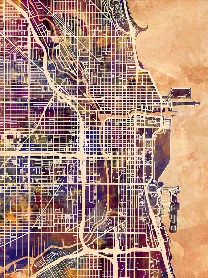Chicago Digital Art - Chicago City Street Map by Michael Tompsett