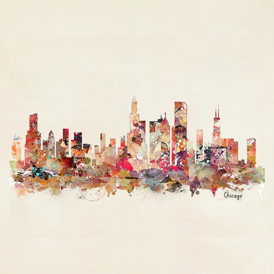 Chicago Illinois Skyline Painting - Chicago Illinois Skyline by Bri Buckley
